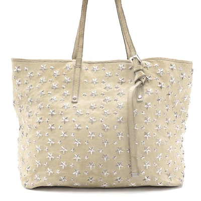 Jimmy Choo Star Studded Beige Leather Tote Bag