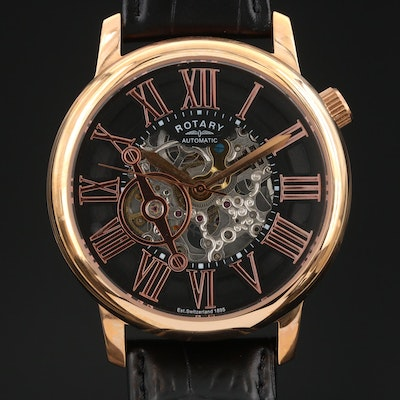 Rotary Partial Skeleton Dial Wristwatch