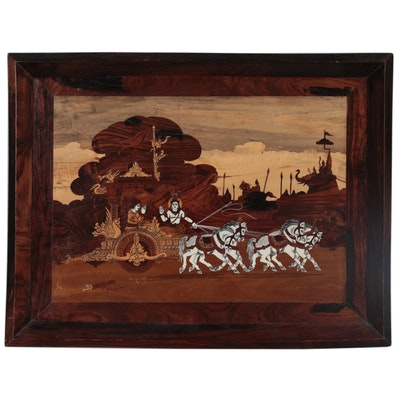 Marquetry of Krishna and Arjun at Kurukshetra War