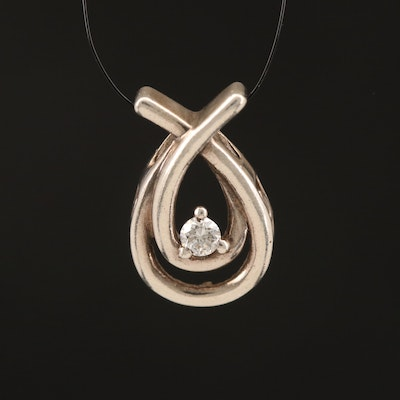 Sterling Diamond Solitaire Loop Pendant