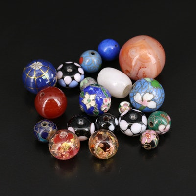 Loose Mixed Beads Including Agate, Jadeite and Additional Gemstones