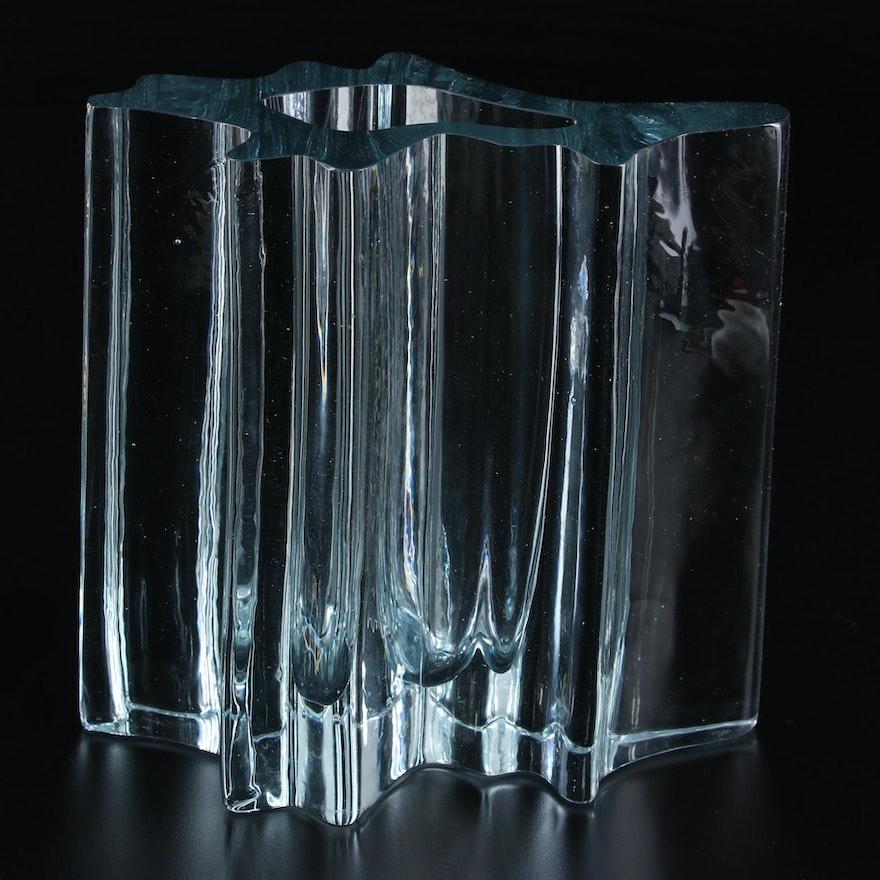 Scandinavian Abstract Blue-Green Glass Vase