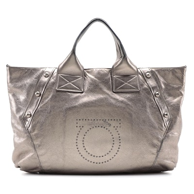 Salvatore Ferragamo Metallic Leather Tote with Perforated Gancini