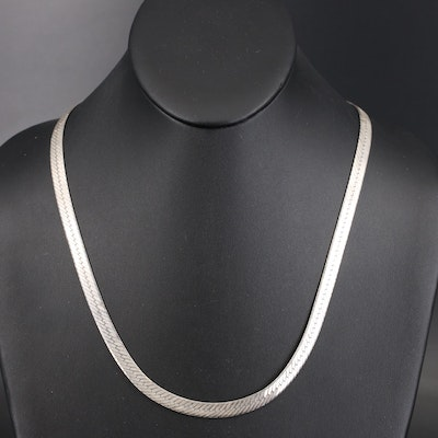 Italian Sterling Herringbone Necklace