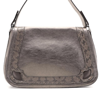 Cartier Python, Suede and Metallic Leather Saddle Bag with Detachable Straps