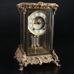 Ansonia Rococo Style Gilt Bronze Clock with Mercury Pendulum, Early 20th Century