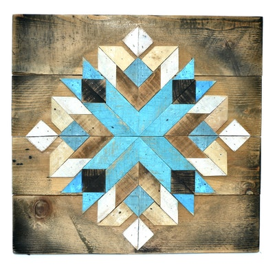 Handmade Geometric Carved and Painted Wooden Panel