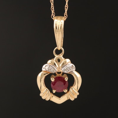 14K Ruby and Diamond Articulated Pendant Necklace