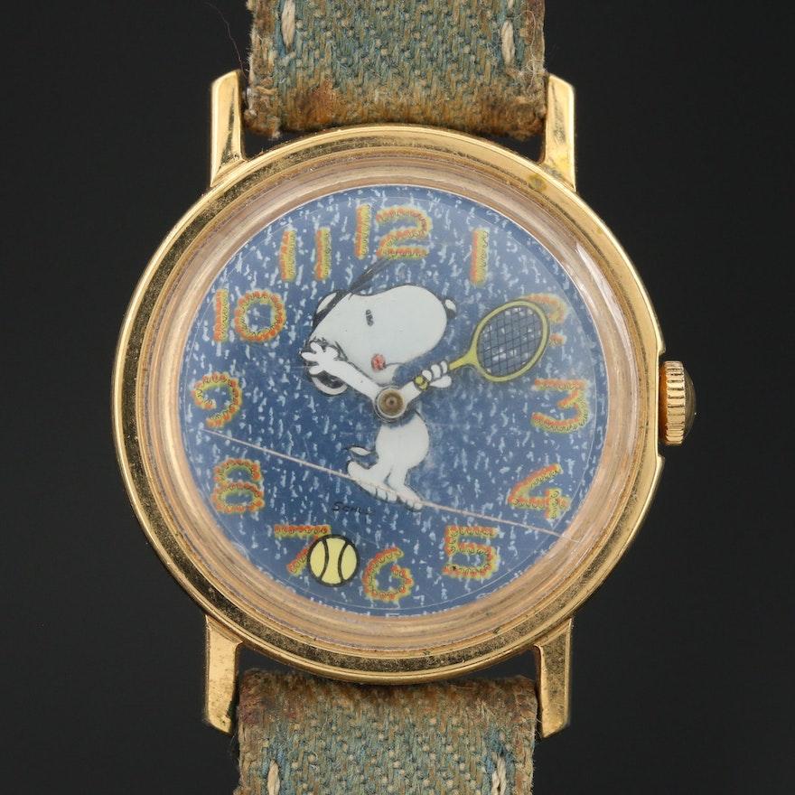 Vintage Snoopy Tennis Gold Tone Stem Wind Wristwatch