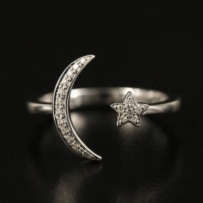 EFFY 14K Diamond Moon and Star Torque Ring