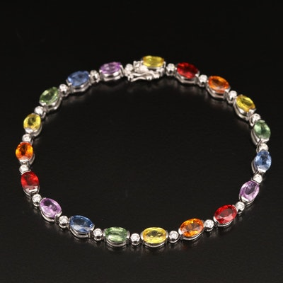 EFFY 14K Sapphire and Diamond Rainbow Line Bracelet