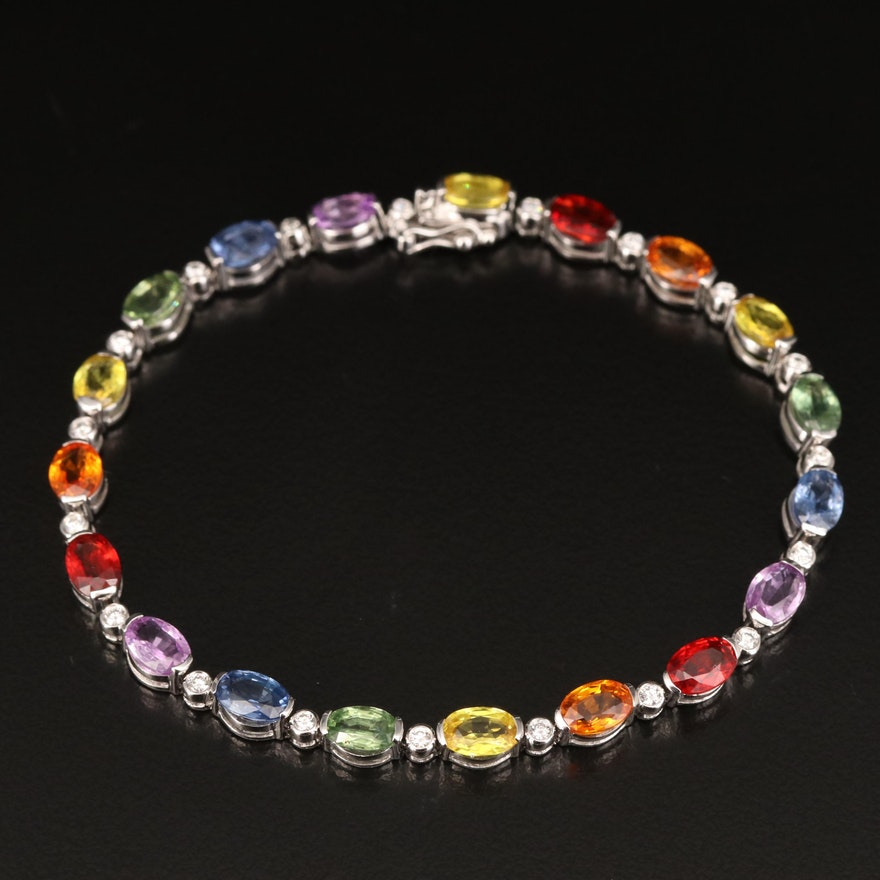 EFFY 14K Sapphire and Diamond Rainbow Line Bracelet