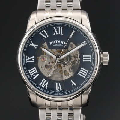 Rotary Stainless Steel Wristwatch with Partial Skeleton Dial