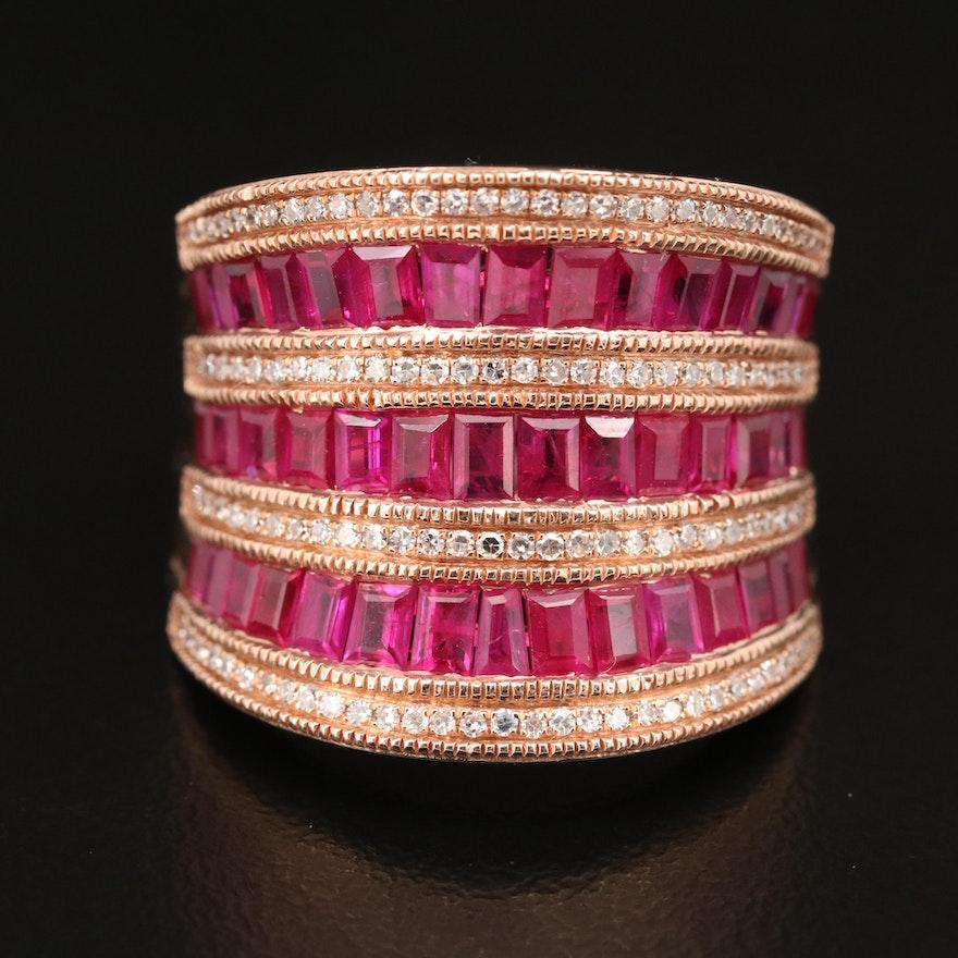 EFFY 14K Rose Gold Ruby and Diamond Multi-Row Saddle Ring