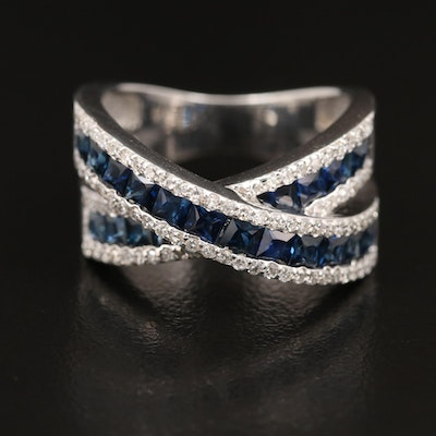 EFFY 14K Sapphire and Diamond Crossover Band