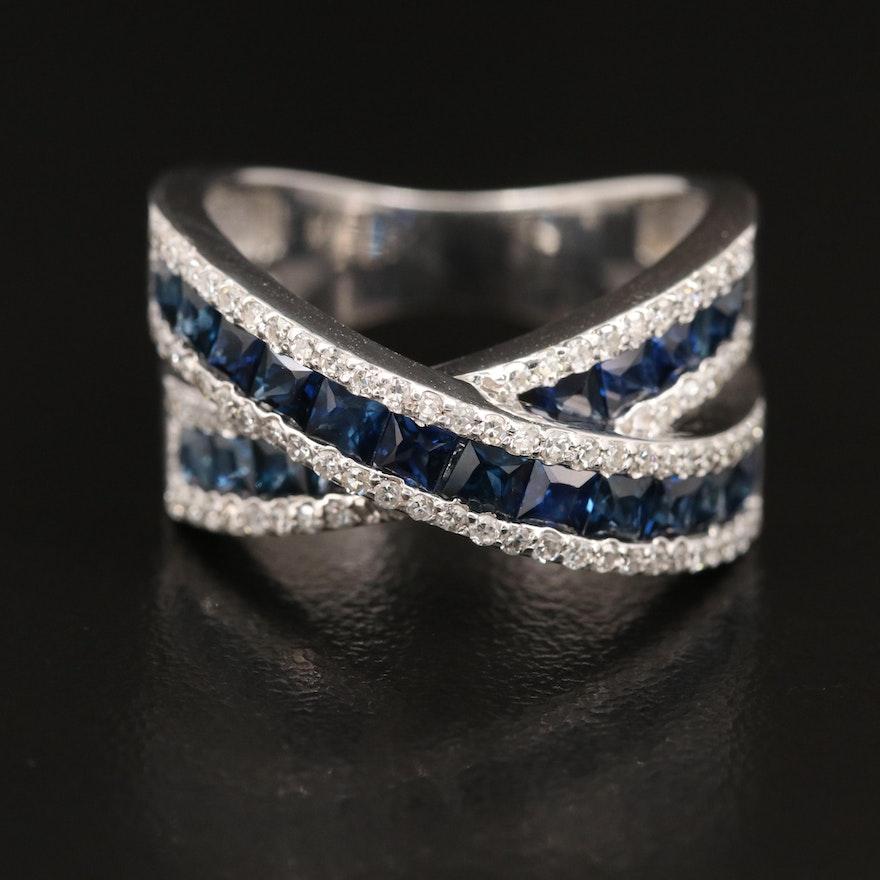 EFFY 14K Sapphire and Diamond Crossover Band