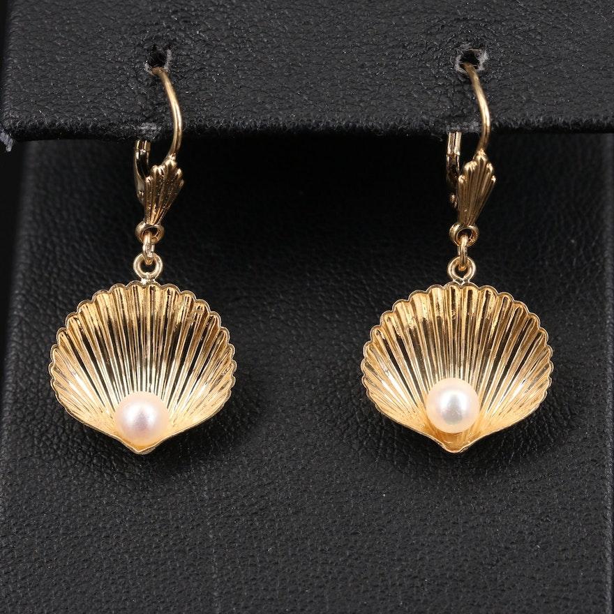 14K Pearl Seashell Earrings