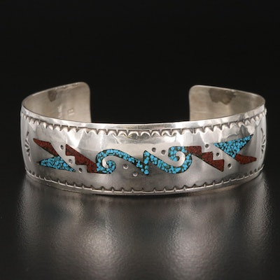 Southwestern Style Sterling Cuff with Inlay