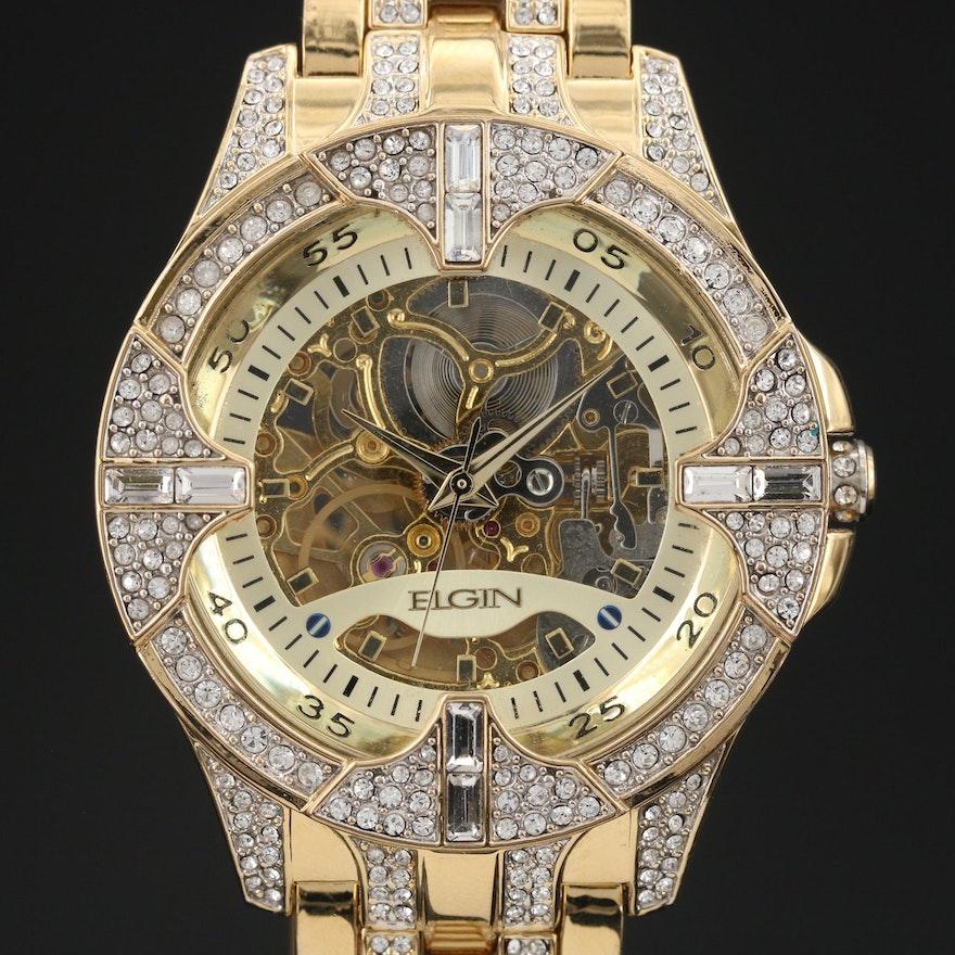 Elgin Glass Crystal Accented Skeletal Wristwatch