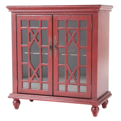 Coast to Coast Imports Painted Wood and Glass Front Cabinet