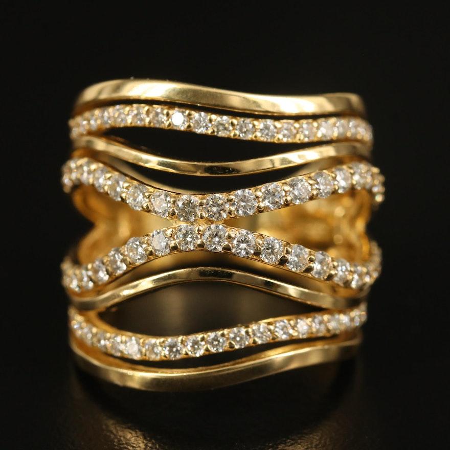 EFFY 18K 1.37 CTW Diamond Multi-Row Wave Ring