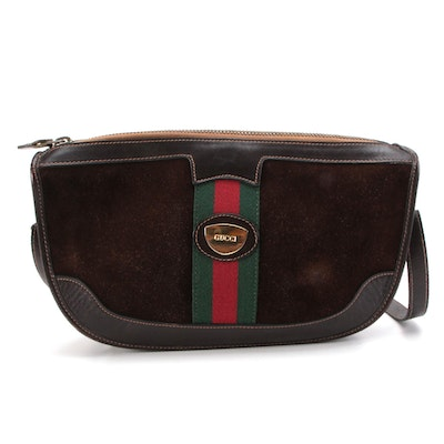 Gucci Web Brown Suede and Leather Shoulder Bag