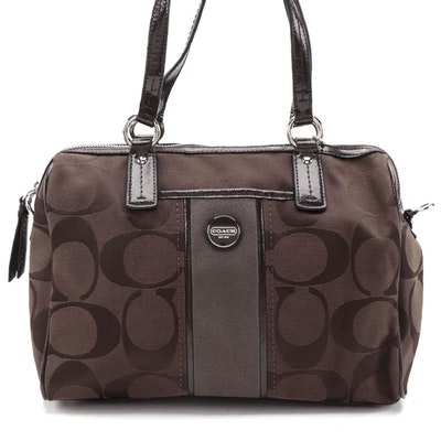 Coach Two-Way Satchel in Brown Signature Canvas with Patent Leather Trim