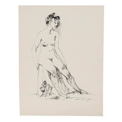 "Lawrence Nelson Wilbur Ink Drawing ""Standing Nude,"" 1964"