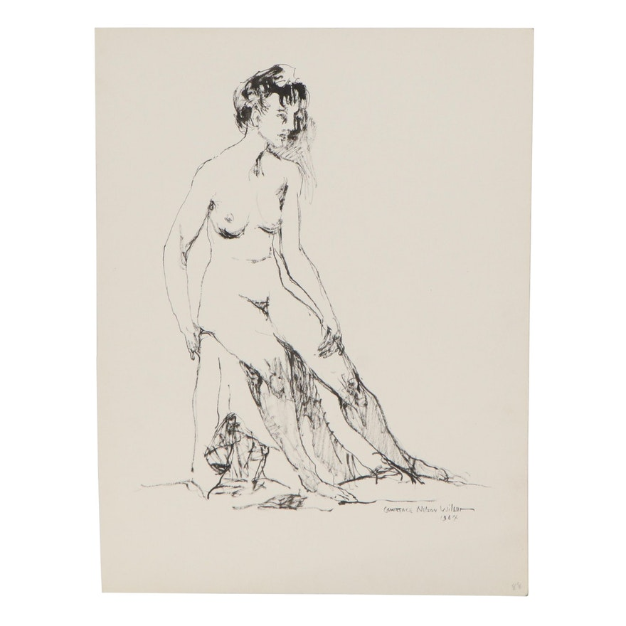 """Lawrence Nelson Wilbur Ink Drawing """"Standing Nude,"""" 1964"""