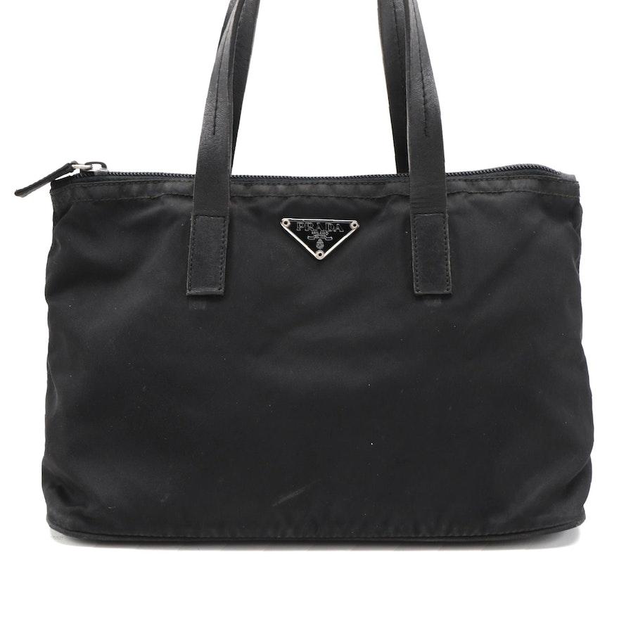 Prada Black Tessuto Nylon Tote with Leather Trim