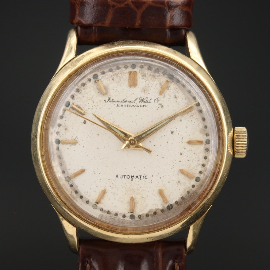 Vintage IWC 18K Yellow Gold Automatic Wristwatch