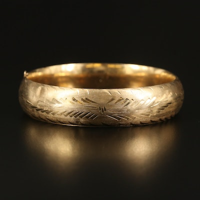 14K Textured Foliate Hinged Bangle