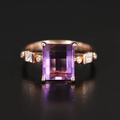 EFFY 14K Rose Gold Amethyst and Diamond Ring