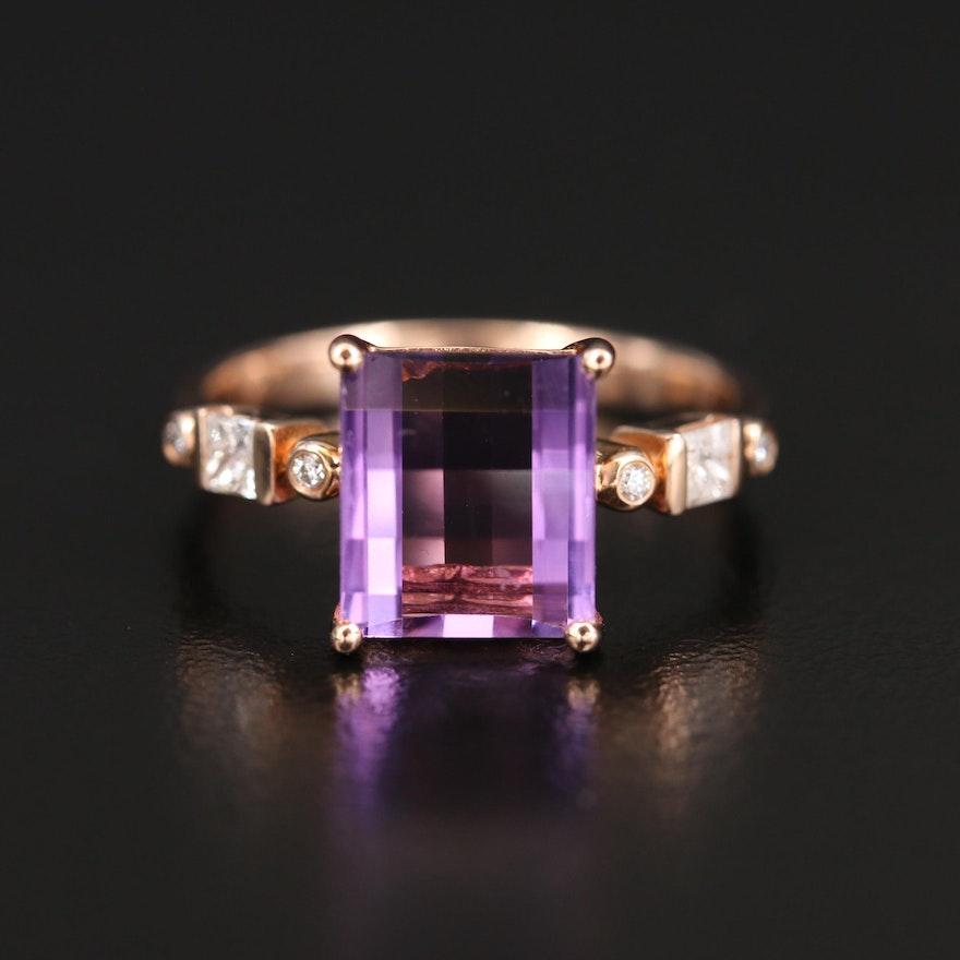 EFFY 14K Rose Gold Amethyst and Diamond Ring