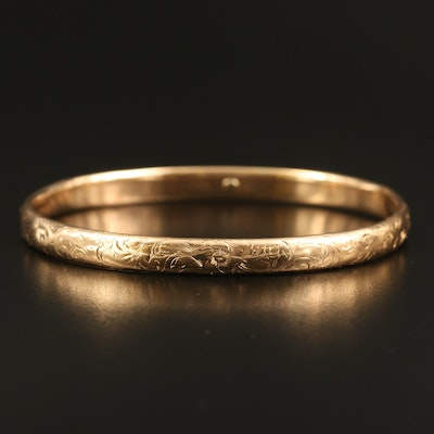 14K Scrollwork Hinged Bangle