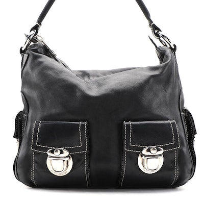 Marc Jacobs Hobo Bag with Front Buckle Pockets in Black Leather