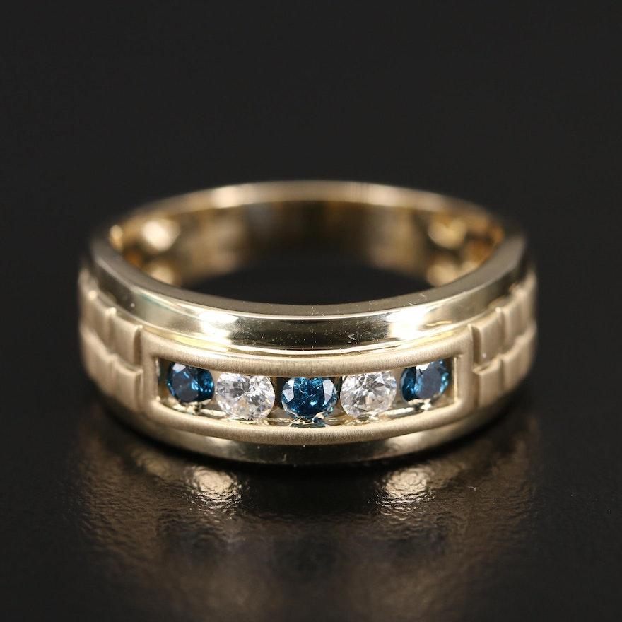 EFFY 14K Blue Diamond and Diamond Band