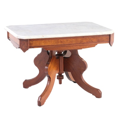 Victorian Walnut, Burl Walnut and Marble Top Table, Late 19th Century