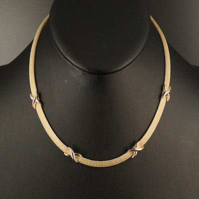 "14K Foxtail Chain Necklace with ""X"" Accents"