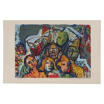 """Martin Rosenthal Serigraph """"Mardi Gras,"""" 1951"""