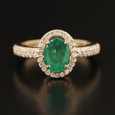 EFFY 14K 1.14 CT Emerald and Diamond Halo Ring