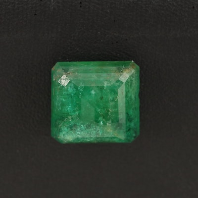 Loose 9.11 CT Cut Corner Square Faceted Emerald