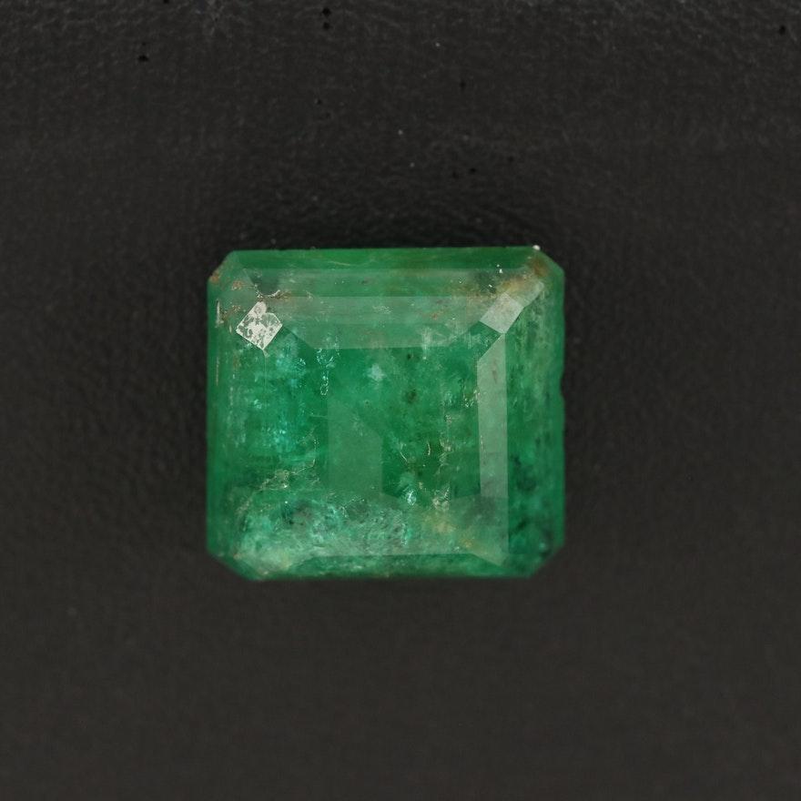 Loose 9.11 CT Cut Corner Square Faceted Emerald