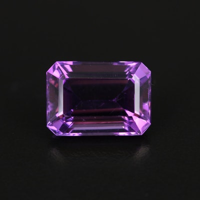 Loose 16.53 CT Cut Corner Rectangular Faceted Amethyst