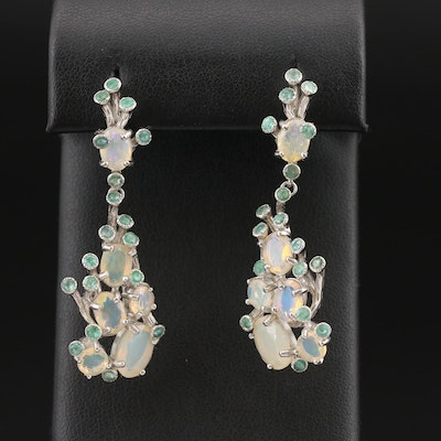 Sterling  Biomorphic Opal and Beryl Earrings