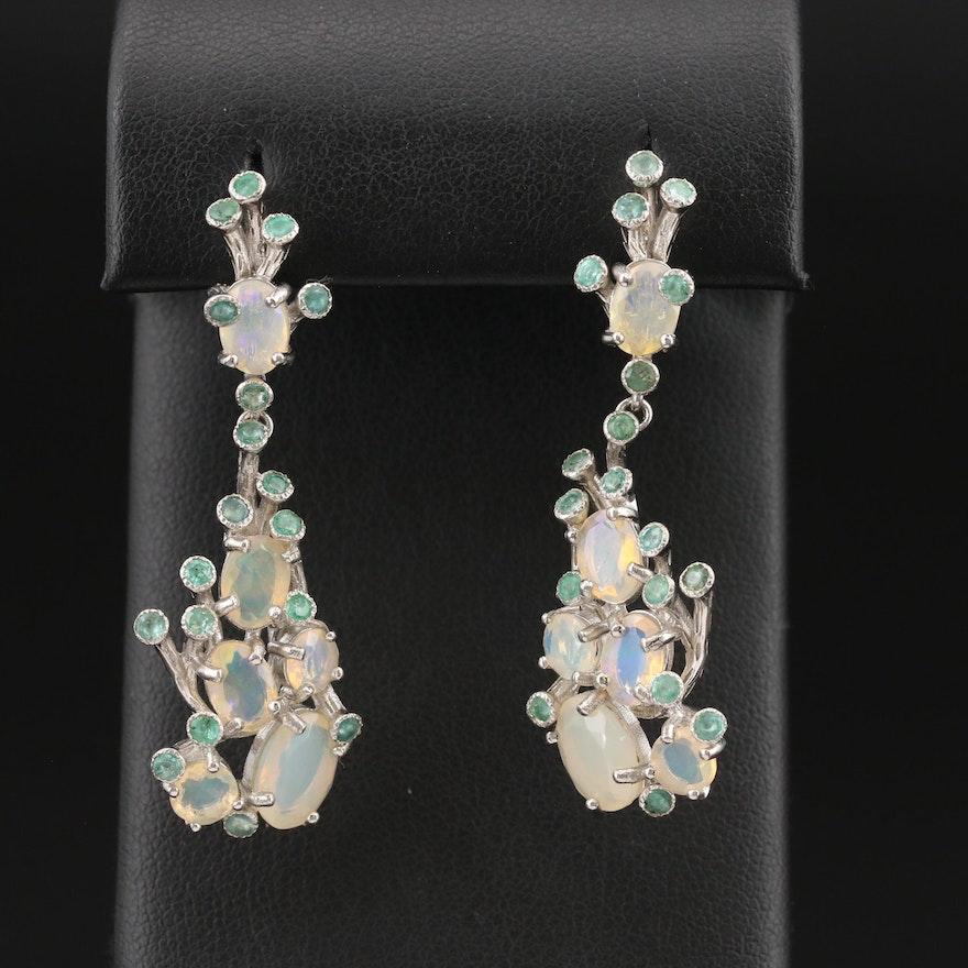 Sterling  Biomorphic Opal and Beryl Earrings