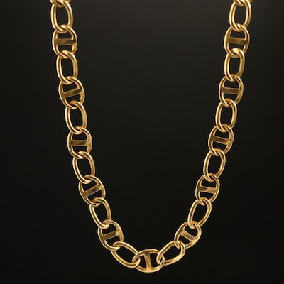 18K Curb and Mariner Chain Necklace