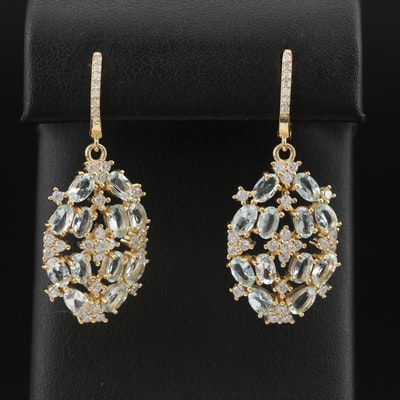 Sterling Aquamarne and Cubic Zirconia Cluster Earrings