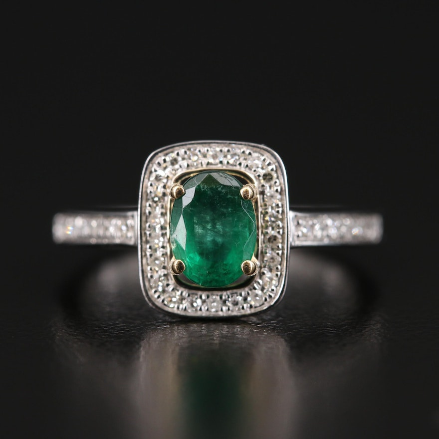 14K White Gold Emerald and Diamond Ring with Yellow Gold Accents