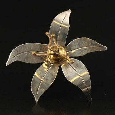 Mexican Sterling Flower Brooch